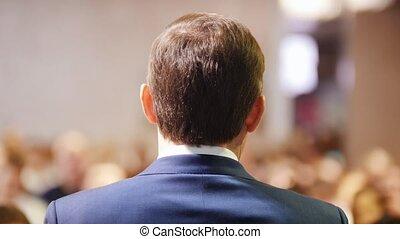 conférence, hall., business, conversation, audience, homme, étape