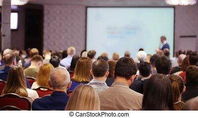 conférence, hall., business, séance, chaises, gens, regarder, présentation