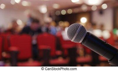 conférence, hall., chairs., business, séance, mic, gens, premier plan