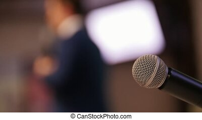 conférence, hall., stage., business, premier plan, mic, conversation, homme