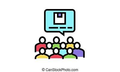 conférence, icône, animation, recherche, couleur, marché