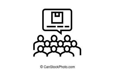 conférence, icône, animation, recherche, ligne, marché