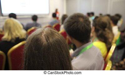 conférence, professionnels, beaucoup, séance, grand, salle