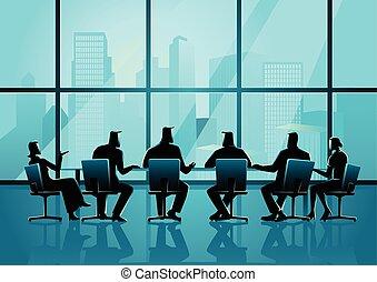 conférence, professionnels, salle, cadre, avoir, réunion