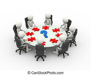 conférence, professionnels, table, réunion, 3d