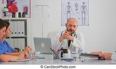 conférence, séance, équipe, docteur, bureau, discuter, spécialiste