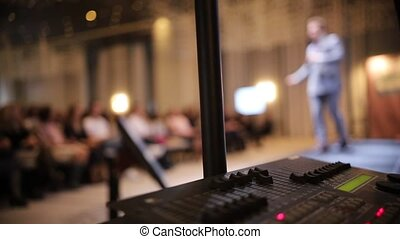 conférence, son, marche, business, grand, -, équipement, enregistreur, homme, salle, étape