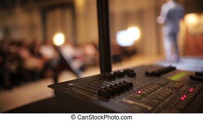 conférence, son, marche, business, grand, -, équipement, luxe, enregistreur, homme, salle, étape
