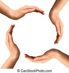 confection, cercle, mains