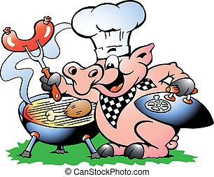 confection, chef cuistot, barbecue, debout, cochon