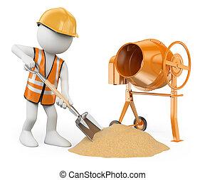 confection, construction, arrière-plan., pelle, béton, isolé, gens., mélangeur, ouvrier, 3d, ciment, blanc