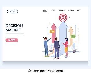 confection, gabarit, site web, vecteur, décision, atterrissage, conception, page