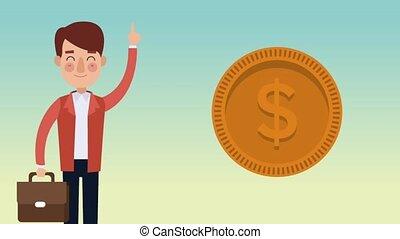 confection, homme affaires, animation, hd, argent