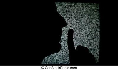 confection, homme, doigt, shhh, signe