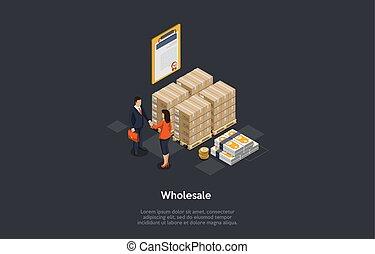 confection, marchandise, deal., partenaires, vecteur, illustration, commercialisation, boîtes, quality., concept., pile, marchandises, articles, vente gros, produits, tassé, argent, 3d, marchandises, business, certificat, isométrique