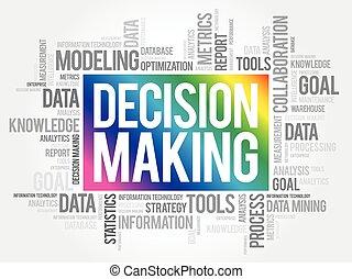confection, nuage, mot, concept, décision, business