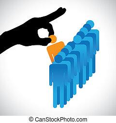 confection, personne, autre, graphique, candidats, compagnie, hr, choisir, mieux, spectacles, main droite, silhouette, choix, métier, techniques, beaucoup, employee., illustration, représenté, concept