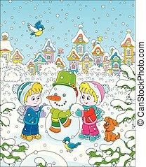 confection, rigolote, petits enfants, bonhomme de neige