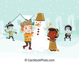 confection, snowman., multiculturel, enfants