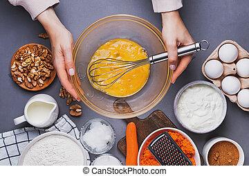 confection, sommet gâteau, processus, vue., carotte