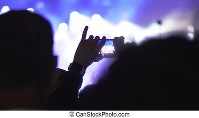 confection, vidéo, concert, cellphone, performance