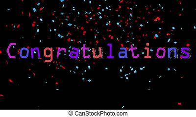 confetti, écrit, arrière-plan noir, félicitations