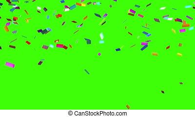 confetti, arrière-plan vert, chutes