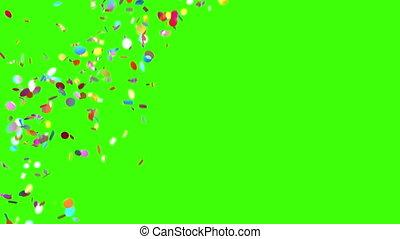 confetti, arrière-plan vert, pluie