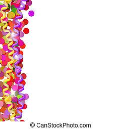 confetti, banderoles, isolé, fête, arrière-plan., blanc