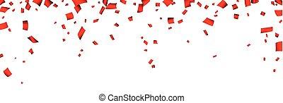 confetti, banner., célébration, rouges