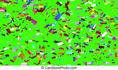 confetti, lentement, tomber, arrière-plan vert