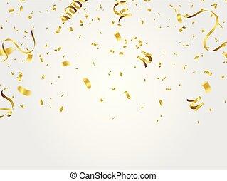 confetti, or, fond, célébration