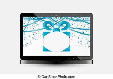 confetti, ordinateur portable, rubans, écran, cadeau