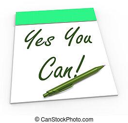 confiance, self-belief, bloc-notes, boîte, oui, vous, spectacles