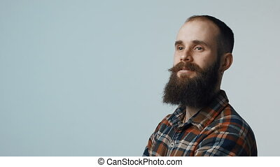confiant, barbu, hipster, homme