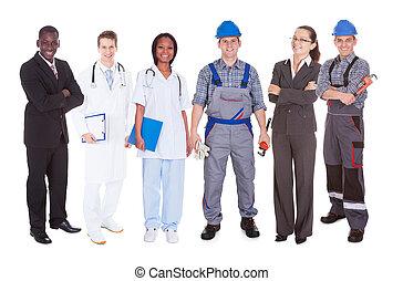 confiant, divers, gens, métiers