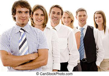 confiant, equipe affaires