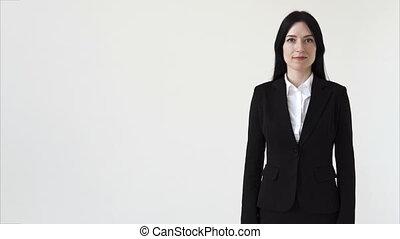 confiant, femme, homme affaires