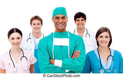 confiant, fond, sien, chirurgien, équipe