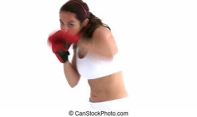 confiant, gants, boxe, femme