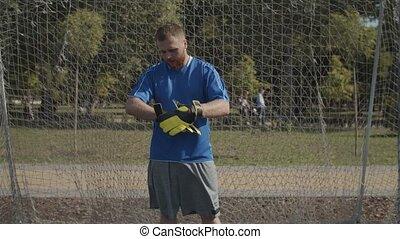 confiant, goal, ajustement, football, gants