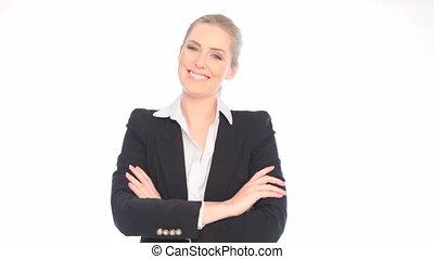 confiant, sourire, femme affaires