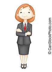 confiant, vecteur, dame, business, 3d