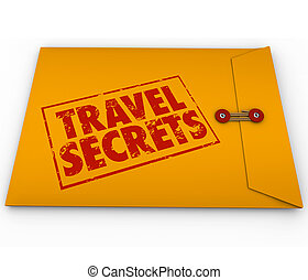 confidentiel, secrets, voyage, enveloppe, jaune, informat, pointes, conseil