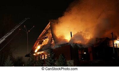 conflagration., enfer, fire., maison