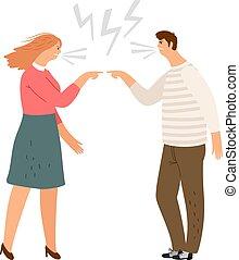 conflit, violence, maison, famille