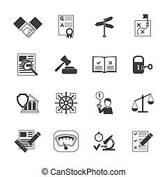 conformité, ensemble, légal, icônes