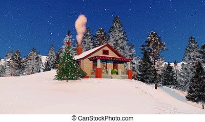 confortable, maison, arbre, 4k, décoré, noël