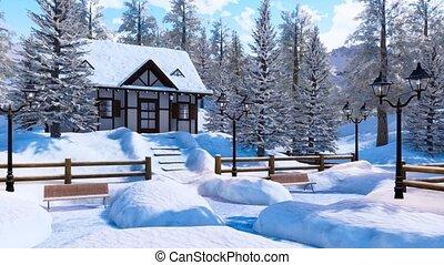 confortable, maison, snowbound, hiver, jour, alpin, montagne