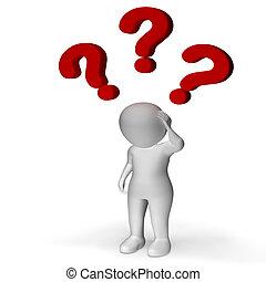 confusion, sur, incertitude, points interrogation, projection, homme